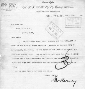 Fred Harvey Pass Request to Henry Nutt - 12-2-1885
